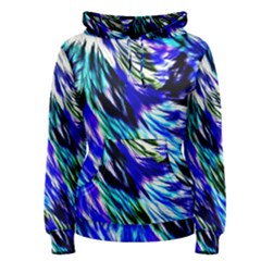 Abstract Background Blue White Women s Pullover Hoodie