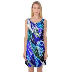 Abstract Background Blue White Sleeveless Satin Nightdress by Celenk