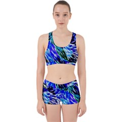 Abstract Background Blue White Work It Out Sports Bra Set by Celenk