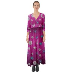 Snowflakes 3d Random Overlay Button Up Boho Maxi Dress