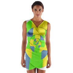 Fabric 3d Geometric Circles Lime Wrap Front Bodycon Dress by Celenk
