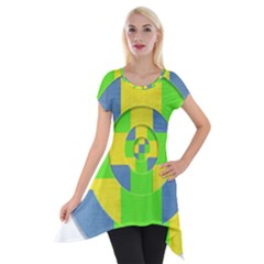 Fabric 3d Geometric Circles Lime Short Sleeve Side Drop Tunic