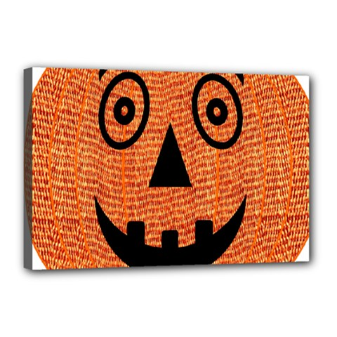 Fabric Halloween Pumpkin Funny Canvas 18  X 12  by Celenk