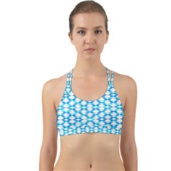 Fabric Geometric Aqua Crescents Back Web Sports Bra by Celenk