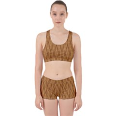 Wood Background Backdrop Plank Work It Out Sports Bra Set