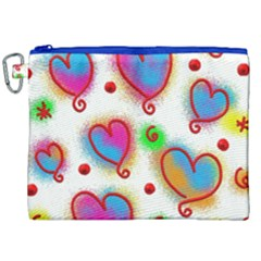 Love Hearts Shapes Doodle Art Canvas Cosmetic Bag (xxl) by Celenk