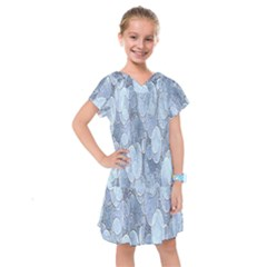 Bubbles Texture Blue Shades Kids  Drop Waist Dress