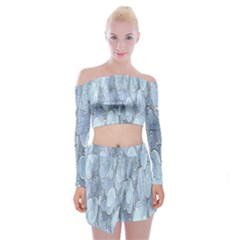 Bubbles Texture Blue Shades Off Shoulder Top With Mini Skirt Set