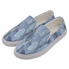 Bubbles Texture Blue Shades Men s Canvas Slip Ons by Celenk