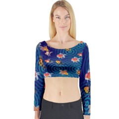 Fish Swim In The Ocean Long Sleeve Crop Top by Cveti