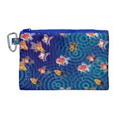 Fish Swim In The Ocean Canvas Cosmetic Bag (large) by Cveti
