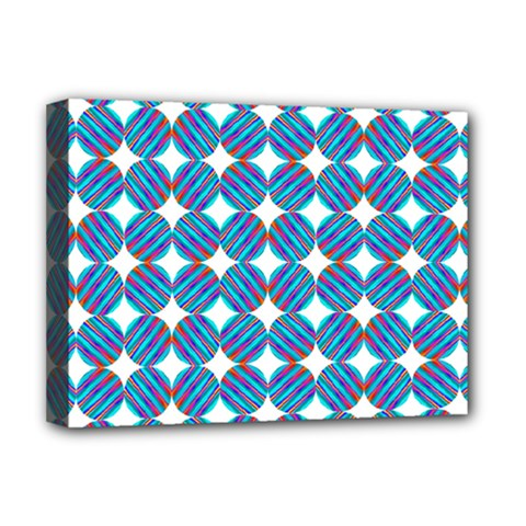 Geometric Dots Pattern Rainbow Deluxe Canvas 16  X 12   by Celenk