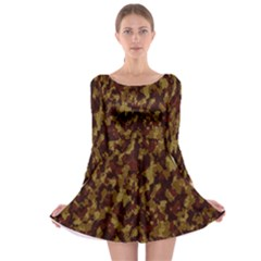 Camouflage Tarn Forest Texture Long Sleeve Skater Dress
