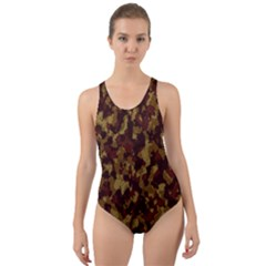 Camouflage Tarn Forest Texture Cut-out Back One Piece Swimsuit