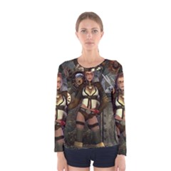 Steampunk, Steampunk Women With Clocks And Gears Women s Long Sleeve Tee by FantasyWorld7