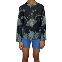 Surfboard With Dolphin, Flowers, Palm And Turtle Kids  Long Sleeve Swimwear by FantasyWorld7