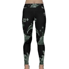 Surfboard With Dolphin, Flowers, Palm And Turtle Classic Yoga Leggings by FantasyWorld7