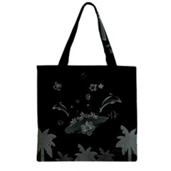 Surfboard With Dolphin, Flowers, Palm And Turtle Zipper Grocery Tote Bag by FantasyWorld7