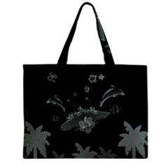 Surfboard With Dolphin, Flowers, Palm And Turtle Zipper Mini Tote Bag by FantasyWorld7