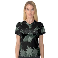 Surfboard With Dolphin, Flowers, Palm And Turtle V Neck Sport Mesh Tee by FantasyWorld7
