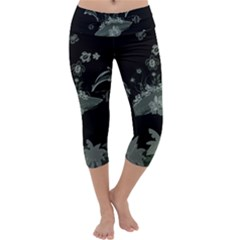 Surfboard With Dolphin, Flowers, Palm And Turtle Capri Yoga Leggings by FantasyWorld7