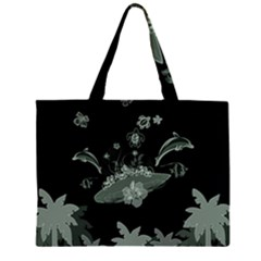 Surfboard With Dolphin, Flowers, Palm And Turtle Zipper Large Tote Bag by FantasyWorld7