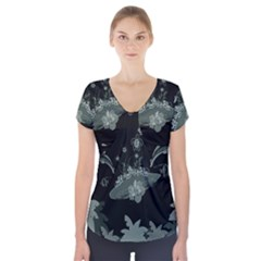 Surfboard With Dolphin, Flowers, Palm And Turtle Short Sleeve Front Detail Top by FantasyWorld7