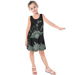 Surfboard With Dolphin, Flowers, Palm And Turtle Kids  Sleeveless Dress by FantasyWorld7