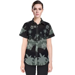 Surfboard With Dolphin, Flowers, Palm And Turtle Women s Short Sleeve Shirt by FantasyWorld7