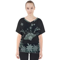 Surfboard With Dolphin, Flowers, Palm And Turtle V Neck Dolman Drape Top by FantasyWorld7