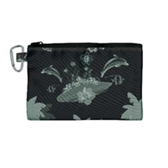 Surfboard With Dolphin, Flowers, Palm And Turtle Canvas Cosmetic Bag (medium) by FantasyWorld7