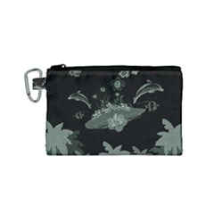 Surfboard With Dolphin, Flowers, Palm And Turtle Canvas Cosmetic Bag (small) by FantasyWorld7