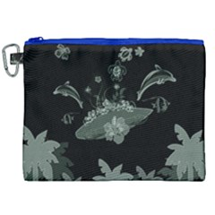 Surfboard With Dolphin, Flowers, Palm And Turtle Canvas Cosmetic Bag (xxl) by FantasyWorld7
