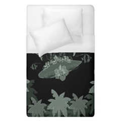 Surfboard With Dolphin, Flowers, Palm And Turtle Duvet Cover (single Size) by FantasyWorld7