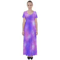 Soft Lights Bokeh 1 High Waist Short Sleeve Maxi Dress