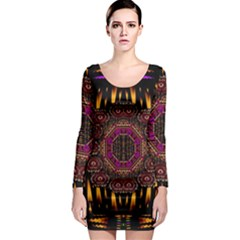 A Flaming Star Is Born On The  Metal Sky Long Sleeve Bodycon Dress by pepitasart