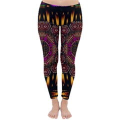 A Flaming Star Is Born On The  Metal Sky Classic Winter Leggings by pepitasart