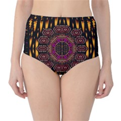 A Flaming Star Is Born On The  Metal Sky High Waist Bikini Bottoms by pepitasart