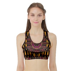 A Flaming Star Is Born On The  Metal Sky Sports Bra With Border by pepitasart