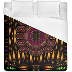 A Flaming Star Is Born On The  Metal Sky Duvet Cover (king Size) by pepitasart