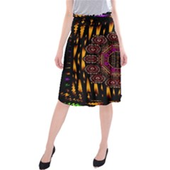 A Flaming Star Is Born On The  Metal Sky Midi Beach Skirt by pepitasart
