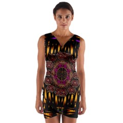 A Flaming Star Is Born On The  Metal Sky Wrap Front Bodycon Dress by pepitasart