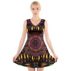 A Flaming Star Is Born On The  Metal Sky V Neck Sleeveless Skater Dress by pepitasart