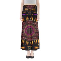 A Flaming Star Is Born On The  Metal Sky Full Length Maxi Skirt by pepitasart