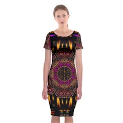 A Flaming Star Is Born On The  Metal Sky Classic Short Sleeve Midi Dress by pepitasart