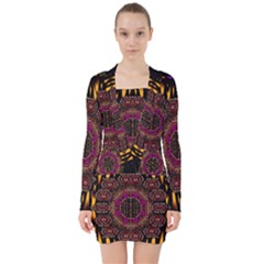 A Flaming Star Is Born On The  Metal Sky V Neck Bodycon Long Sleeve Dress by pepitasart