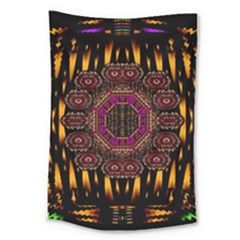 A Flaming Star Is Born On The  Metal Sky Large Tapestry by pepitasart