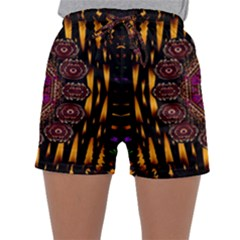 A Flaming Star Is Born On The  Metal Sky Sleepwear Shorts by pepitasart