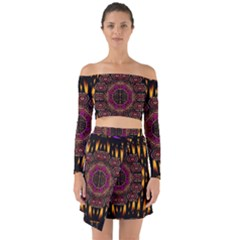 A Flaming Star Is Born On The  Metal Sky Off Shoulder Top With Skirt Set by pepitasart