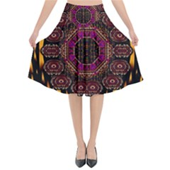 A Flaming Star Is Born On The  Metal Sky Flared Midi Skirt by pepitasart